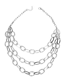 Fashion Silver Popular Three-layer Necklace