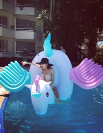 Fashion Rainbow Candy Pegasus Mount Inflatable Floating Row Mount Swimming Ring