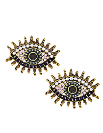 Fashion Black Alloy Diamond Eye Studs