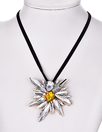 Fashion Silver Alloy Diamond Sun Necklace