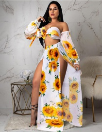 Fashion White Flower - Five Sets Sun Flower Print Split+long Sleeve+split Skirt Half Set