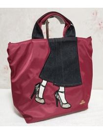 Fashion Red High Heel Printed Stitching Shoulder Bag