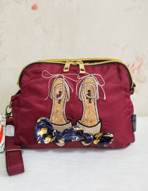 Fashion Red Wine Embroidered Bow Shoulder Diagonal Package
