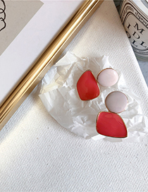 Fashion Red Stitching Color Earrings