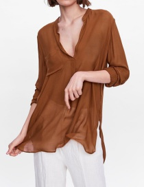 Fashion Caramel Colour Pocket Shirt
