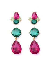 Fashion Color Diamond Stud Earring Set