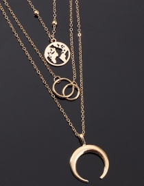 Fashion Gold Map Moon Ring Multi-layer Necklace
