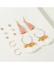 Fashion Gold Ring Tassel Earrings Set Of 6