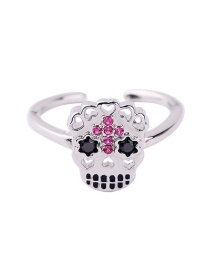 Fashion Silver Open Skull And Diamond Ring