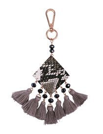 Fashion Gray Alloy Tassel Keychain