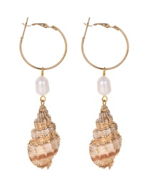 Fashion Gold Alloy Pearl Conch Earrings
