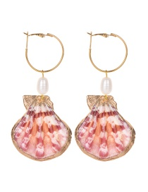 Fashion Gold Alloy Pearl Shell Earrings