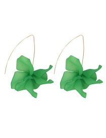 Fashion Green Alloy Resin Flower Earrings