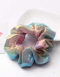 Fashion Powder Blue Gradient Metal Rainbow Bronzing Double Color Hair Ring