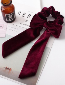 Fashion Red Wine Ribbon Bow Hair Ring