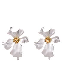 Fashion Silver Four-leaf Flower Earrings