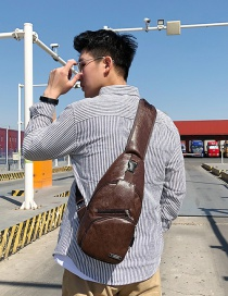 Fashion Brown Charging Bag Sports Usb Chest Bag