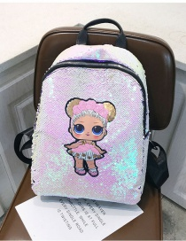 Fashion Large Pink Cartoon Girl Sequin Backpack