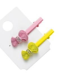 Fashion Yellow Pink Cartoon Bow With Diamond Hair Clips