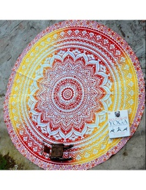 Fashion 41 Yellow Red Gradient Round Peacock Flower Beach Towel