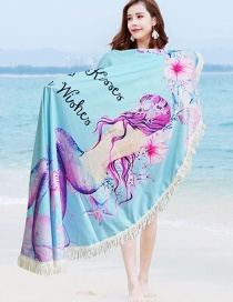 Fashion 305 Blue Printed Round Tassel Shawl Beach Towel