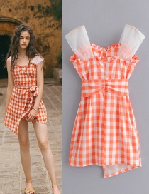 Fashion Orange Shoulder Strap Organza Plaid Strap Dress