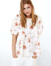 Fashion White Flower Print Top