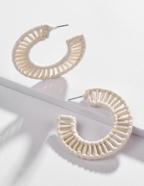 Fashion White Hollow Section Dyed Woven Earrings