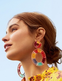 Fashion Color Hollow Section Dyed Woven Earrings