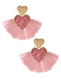 Fashion Leather Pink Love Sequins Tassels