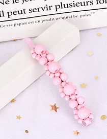 Fashion Pink Alloy Resin Word Bead Hairpin