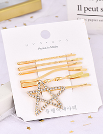 Fashion Pentagram Alloy Diamond-studded Five-pointed Star Hairpin Six-piece