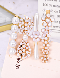 Fashion White Alloy Pearl Bow Hair Clip Four-piece