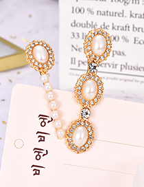 Fashion Gold Alloy Pearl Diamond Hair Clip Two-piece