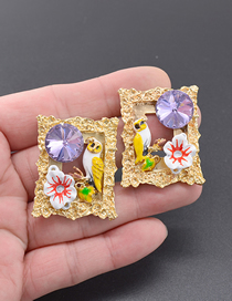 Fashion Gold Oil Painting Pattern Photo Frame Stud Earrings