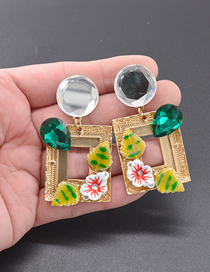 Fashion Gold Oil Painting Square Earrings