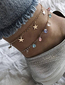 Fashion Gold Star Beads Anklet 2 Piece Set