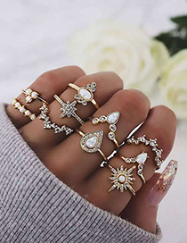 Fashion Gold Star Droplet Diamond Protein Ring Set Of 10