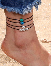 Fashion Black Pearl Turquoise Woven Leather Anklet 4 Piece Set