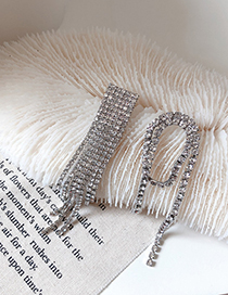 Fashion Asymmetric Asymmetrical Tassel Drop Diamond Earrings