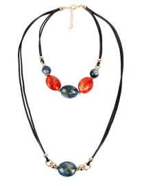 Fashion Blue Wax Rope Beaded Double Necklace