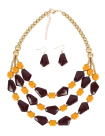Fashion Red Wine Multi-layer Shaped Bead Necklace Set