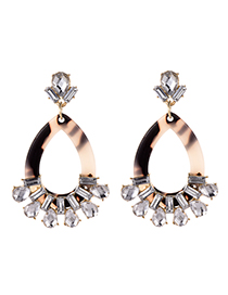 Fashion Black Alloy Studded Resin Oval Stud Earrings