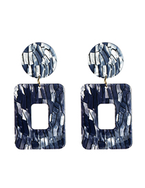 Fashion Dark Gray Vertical Striped Square Plate Earrings