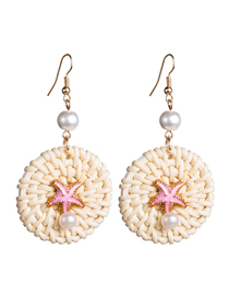 Fashion Pink Woven Pearl Drop Oil Starfish Sea Earrings