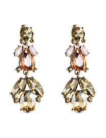 Fashion Gold Multi-layer Acrylic Diamond Earrings