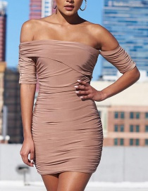 Fashion Pink One-shoulder Five-point Sleeve Pleated Dress
