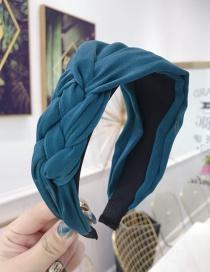 Fashion Hole Blue Cloth Handmade Twist Side Knotted Wide-brimmed Headband