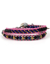 Fashion Black Bead Powder Rope Woven Antique Jewel Stone Double-layer Bracelet