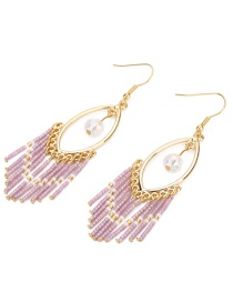 Fashion Pink Gold-plated Chain Earrings
